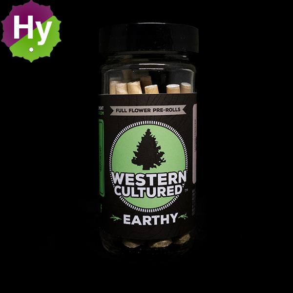Western cultured 7g pre roll jar earthy