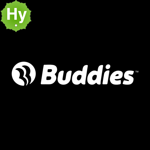White buddies logo blk bg
