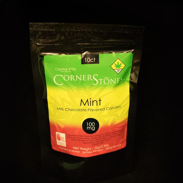 Milk chocolate mint corner stones candies