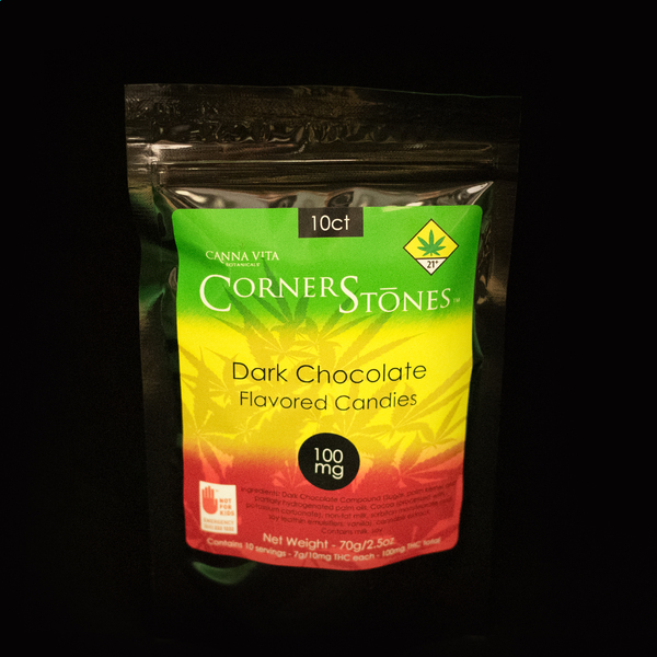 Dark chocolate corner stones candies