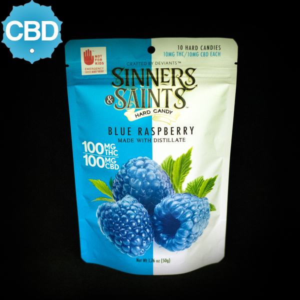 Blue raspberry cbd sinners   saints hard candies